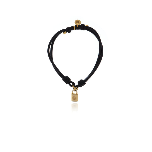 Signature Gold Lock Elastic Bracelet - Georgina Jewelry