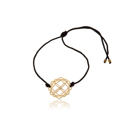 Gold Anchor Black Leather  Bracelet for Men