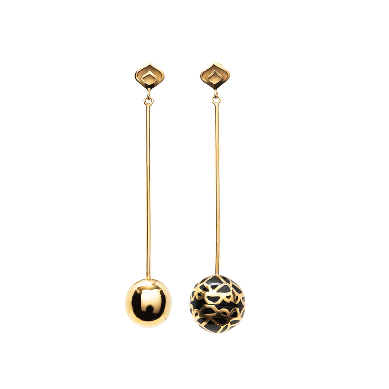 Signature Gold  Sphere Onyx  Resin Long Earrings