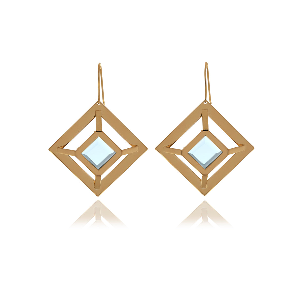 Gold Square  Earrings - Georgina Jewelry
