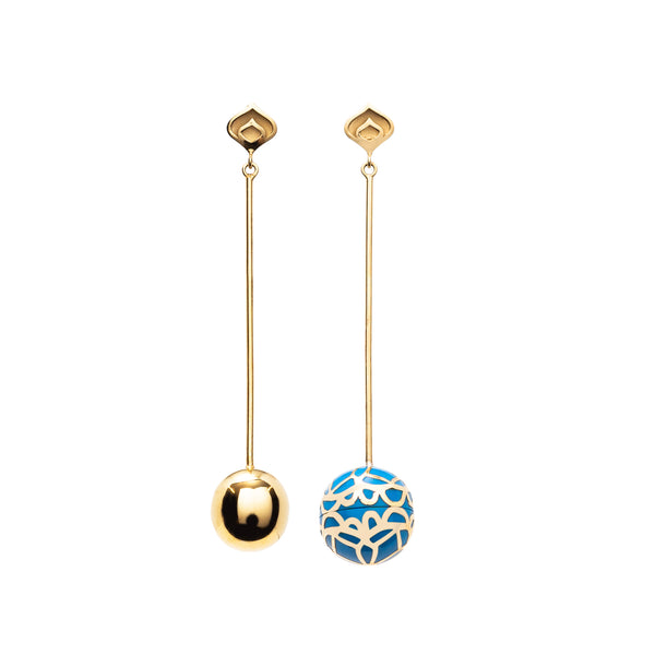 Signature Gold Sphere Blue Cobalt Resin Long Earrings