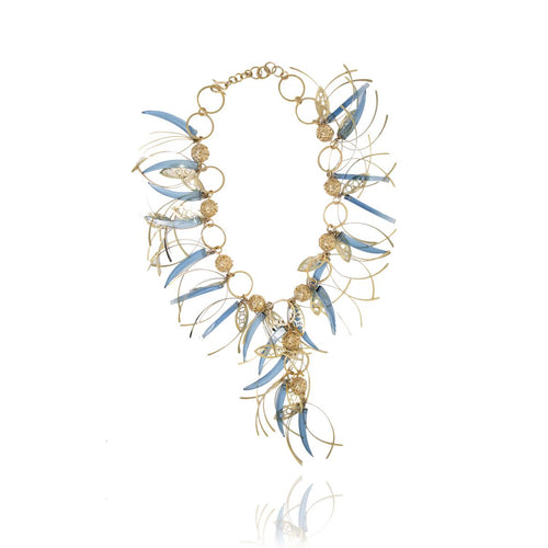 Gold Blue Topaz Feathers Crystal Necklace Runway Edition