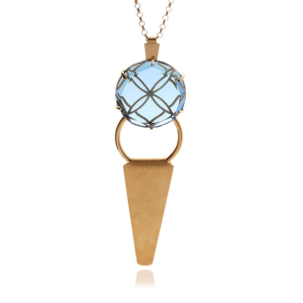 Releve Runway Round Crystal Triangle Pendant - Georgina Jewelry