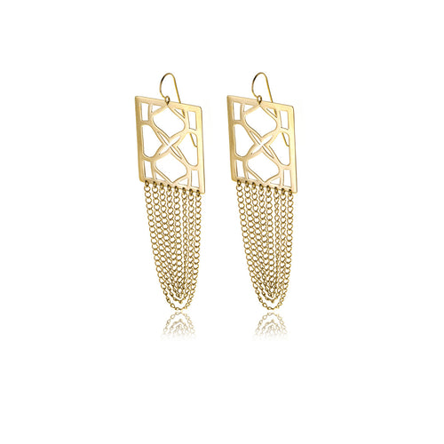 Signature Rectangle Gold Earrings - MCK Brands