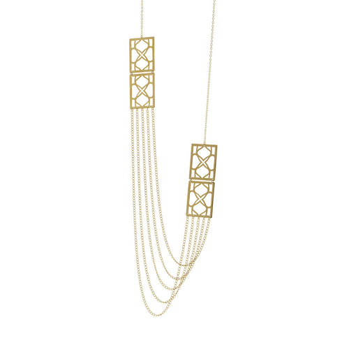 Signature Gold rectangle Long Chain Necklace