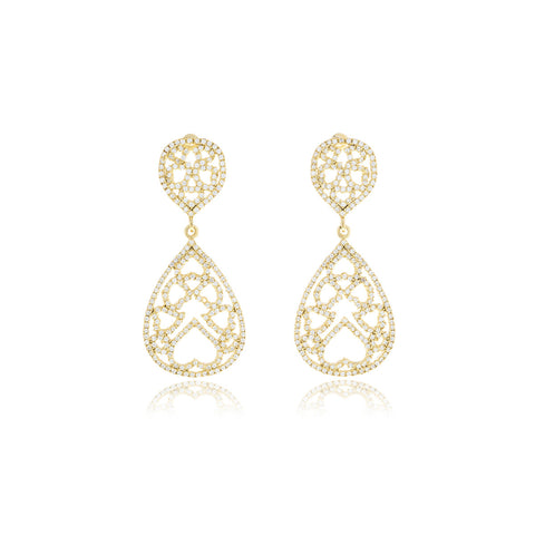Chandler Gold  Diamond Flower Earrings