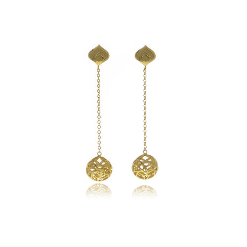 Signature Gold  Sphere Long Earrings - MCK Brands