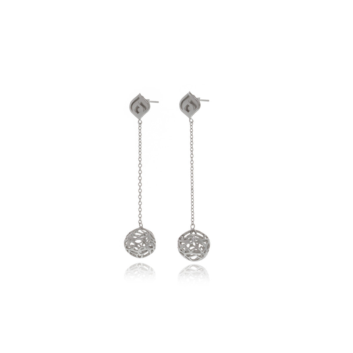 Signature Silver Sphere Long Earrings