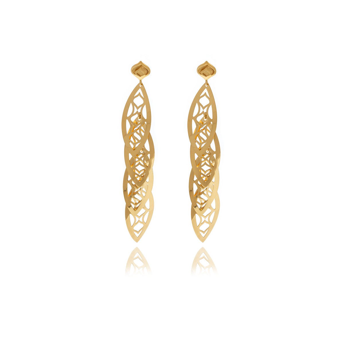 Gold Leaf Chandelier Line Earring - MCK Brands