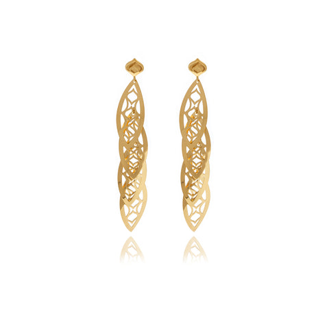 Gold Petals Garnet Long Earrings