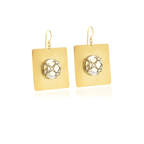 Releve Signature Gold Square Earrings - Georgina Jewelry
