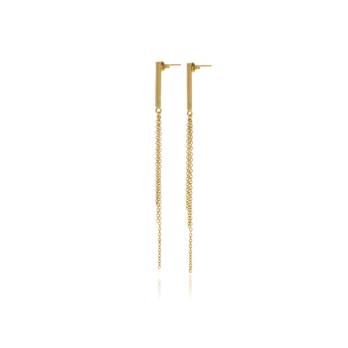 Reverie Gold Chain Bar Earrings - MCK Brands