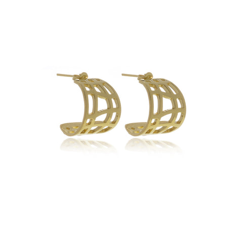Signature Gold Diamond  Cut Hoops  Crystal Earrings
