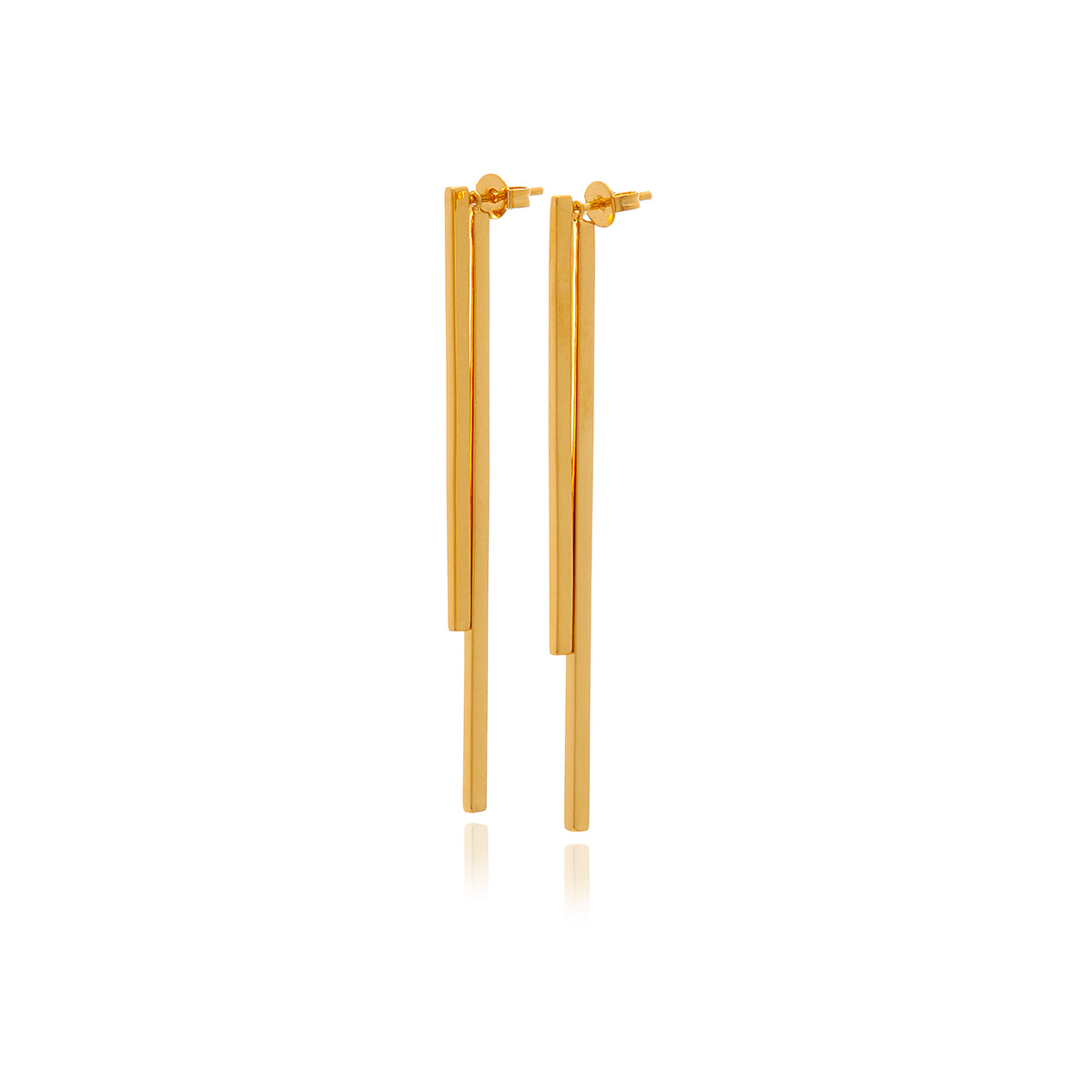 Double Bar Gold Earrings - Georgina Jewelry