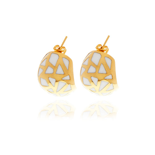Les Racines Gold  Ceramic Earrings - Georgina Jewelry