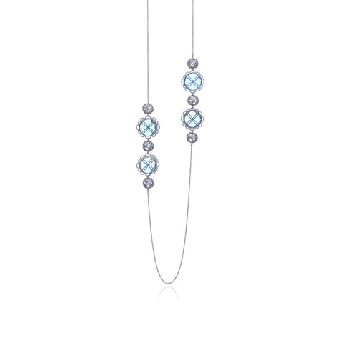 Signature Silver Sphere Long Earrings (Sidereal)