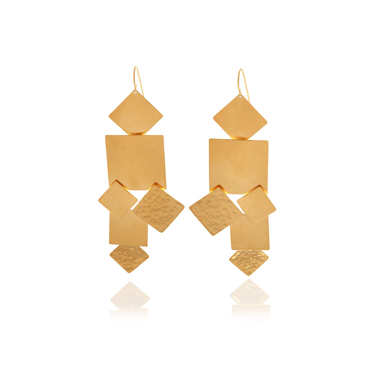 olizz filled gold earrings triangle geometric