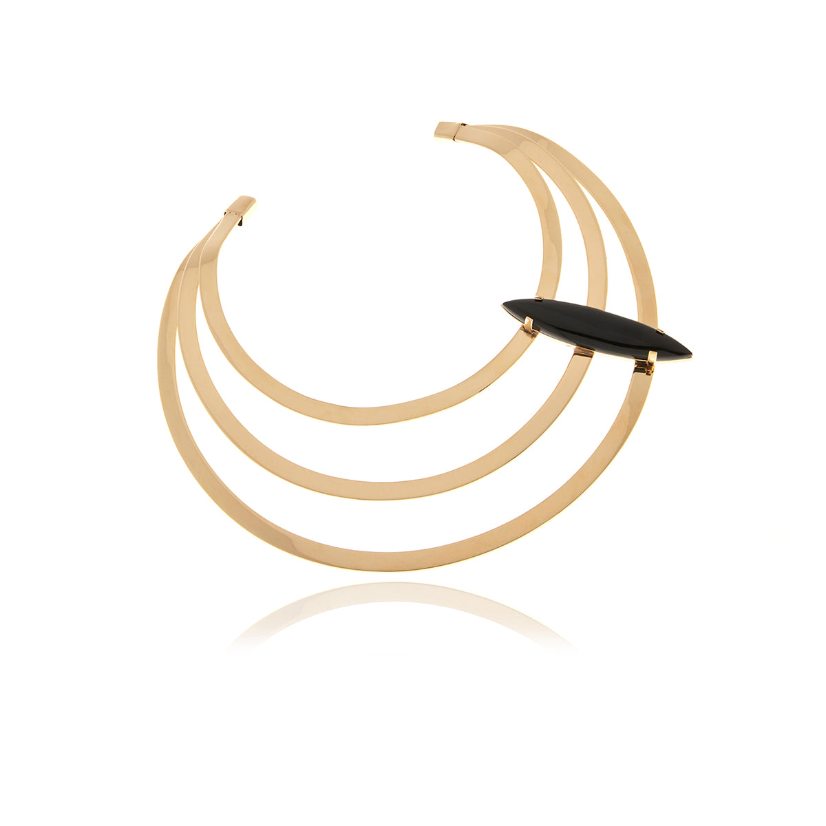 Gold Omega Necklace with Onyx