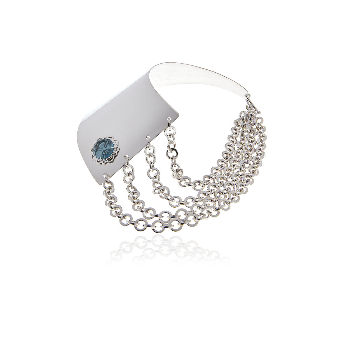 Silver Runway Button Chain Necklace