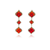 Gold Petals Garnet Long Earrings - Georgina Jewelry