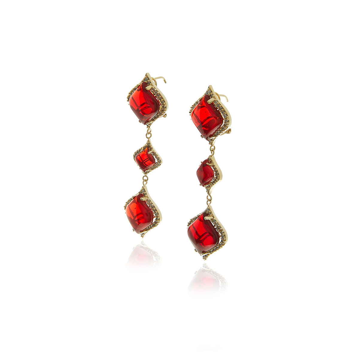 Gold Petals Garnet Long Earrings - MCK Brands
