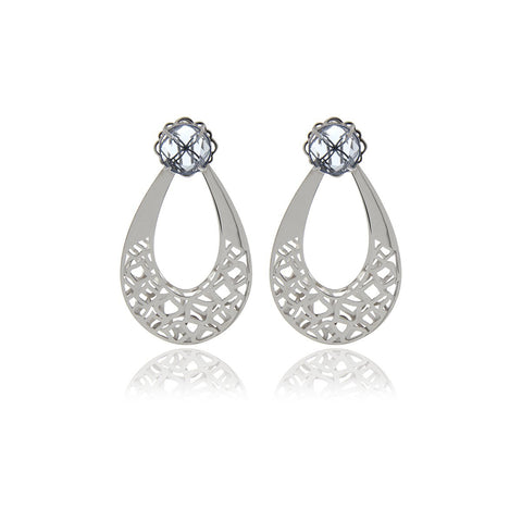 Runway Sterling Silver Flower Earrings