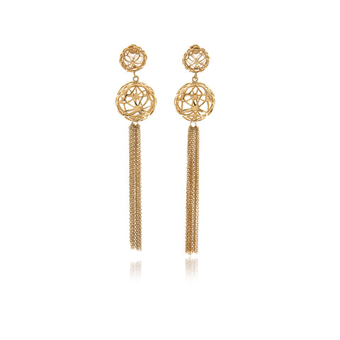Gold 3 Leaf Chandelier Line Earring