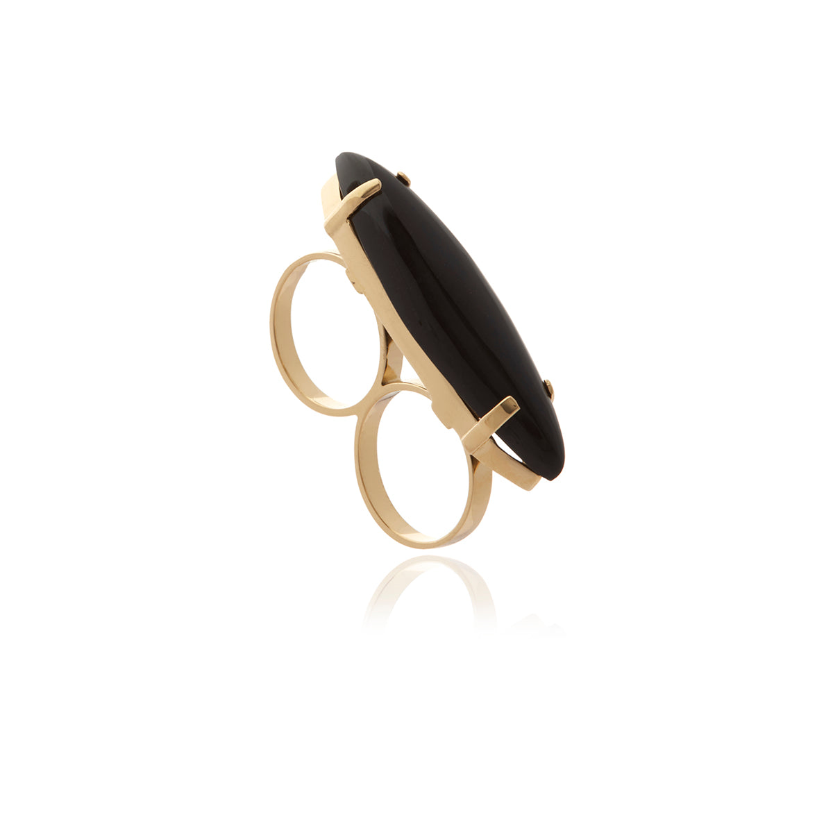 Two Fingers Onyx Ring