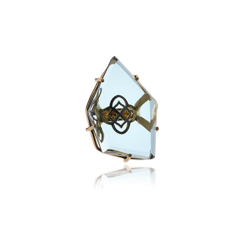 Double Bar - Two Finger Crystal Ring