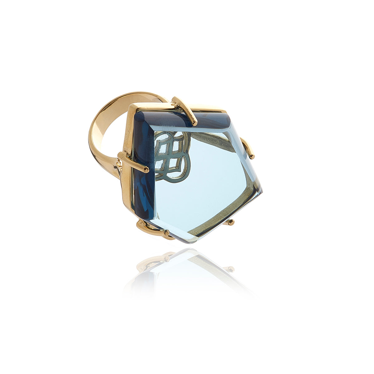 Signature Asymmetric  Gold Crystal Ring - Georgina Jewelry