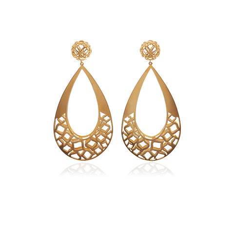 Signature Flower Gold Black Ball Earrings