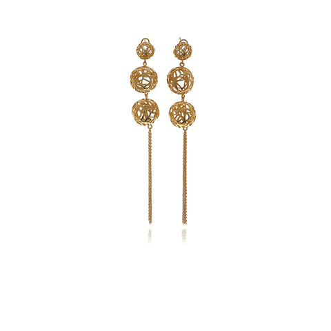 Gold Feathers Crystal Earring