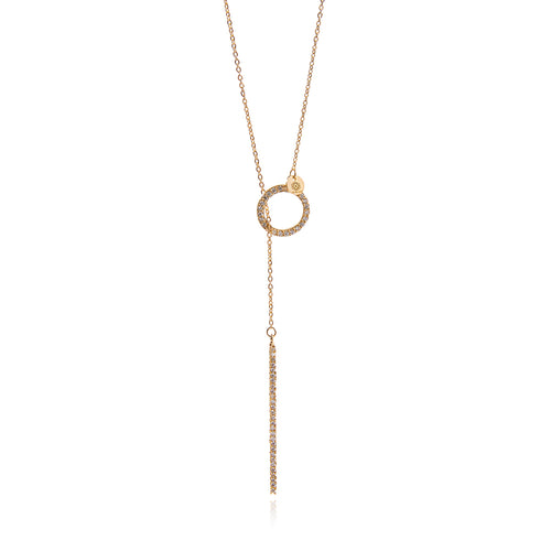 Gold  Diamond Bar Chain Long Necklace