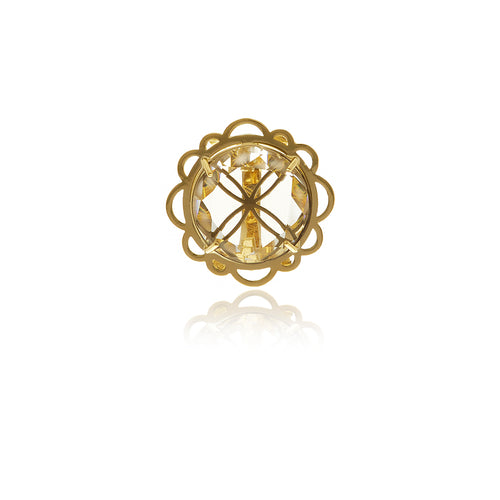 Signature Gold  Flower Crystal Ring - Georgina Jewelry