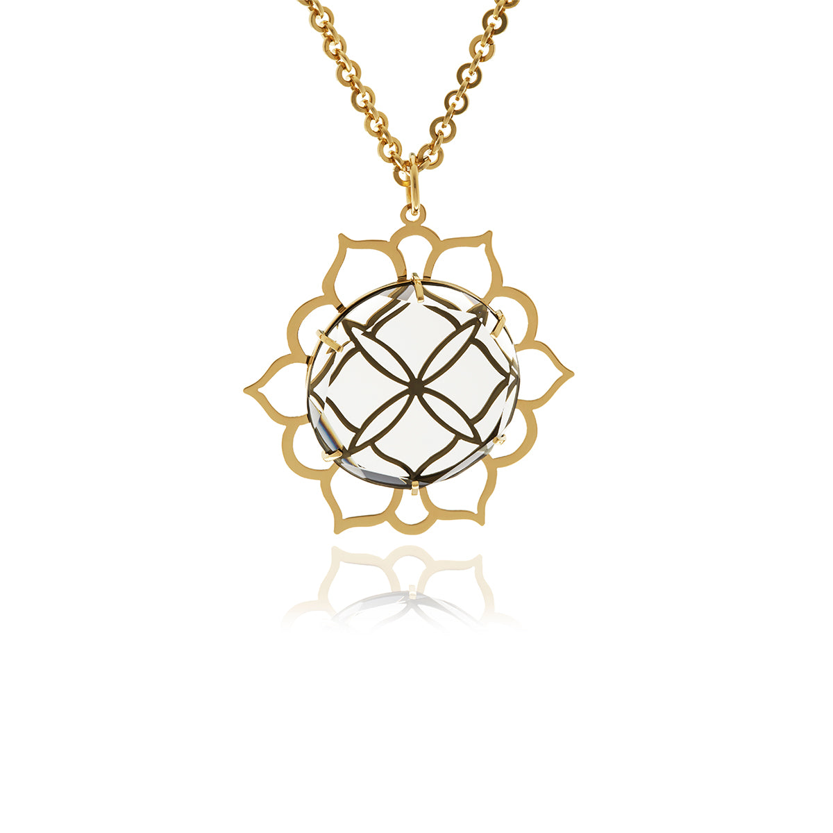 Signature Choker Gold Crystal Sun Pendant - Georgina Jewelry