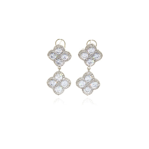 Gold  Chandler Diamond Flower Earrings - Georgina Jewelry