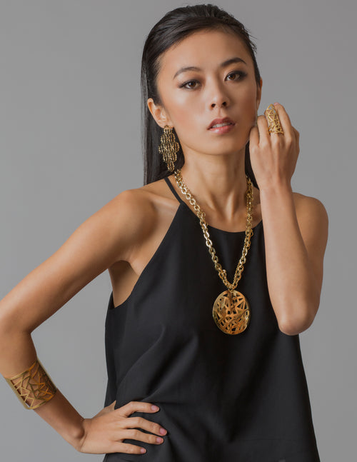 Les Racines Roots Gold Runway Medallion Necklace - Georgina Jewelry