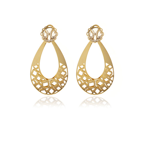 Gold  Racines Drop Crystal Earrings - Georgina Jewelry