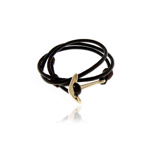 Gold Anchor Black Leather  Bracelet for Men - Georgina Jewelry