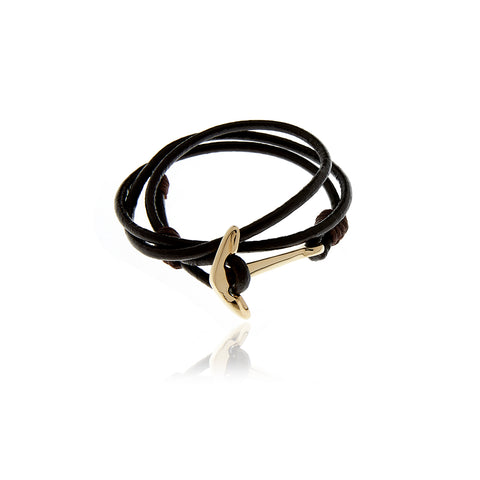 Signature Black  Leather  Bracelet for Men