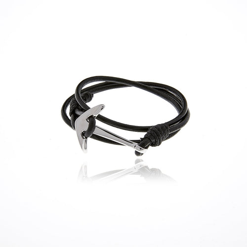 Silver Anchor Black Leather  Bracelet for Men