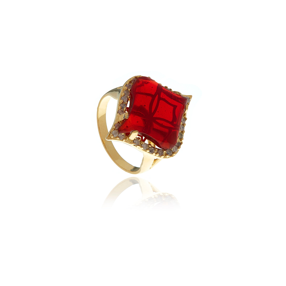 Gold Petal Garnet Ring - Georgina Jewelry