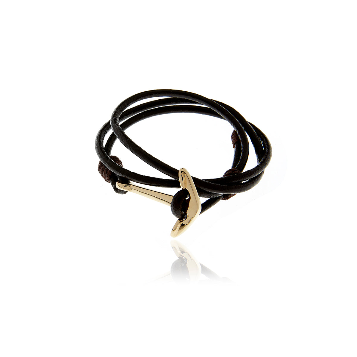 Gold Anchor Black Leather  Bracelet for Men - MCK Brands