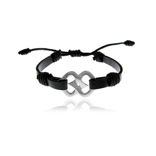 Signature Black  Leather  Bracelet for Men - Georgina Jewelry