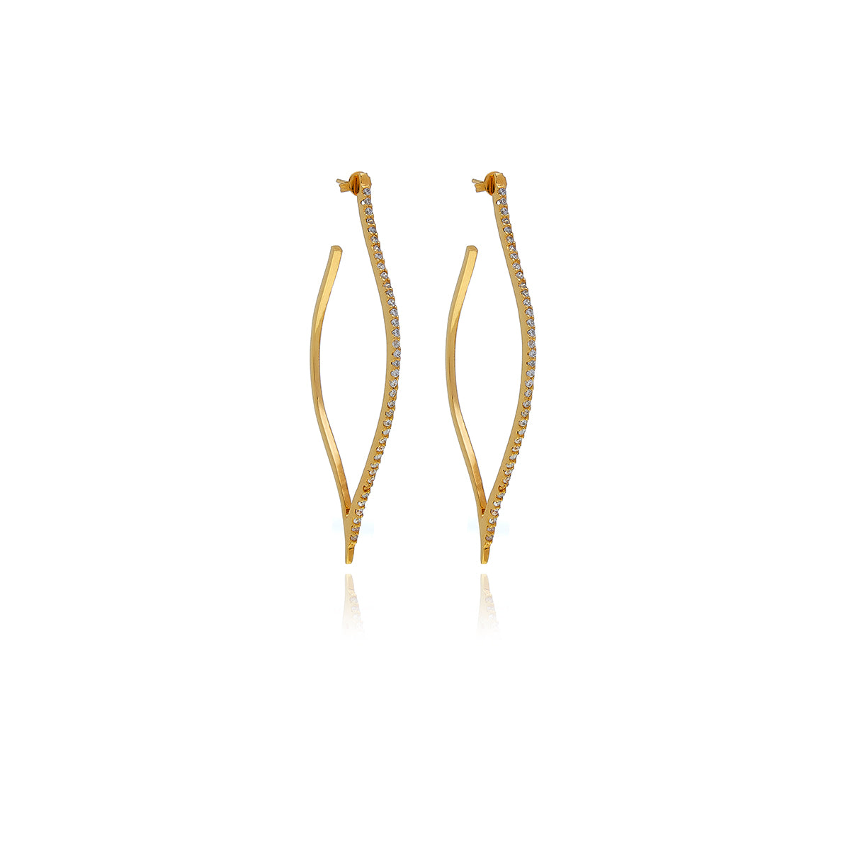 Gold Petal Diamond  Earrings - Georgina Jewelry