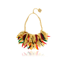 Gold Feathers Crystal Necklace - Georgina Jewelry