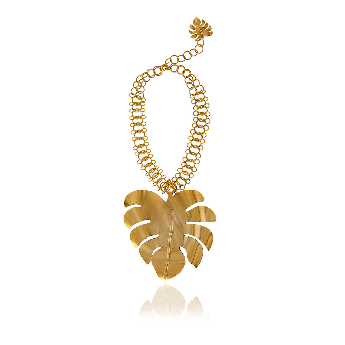 Gold Bold Leaf Necklace - Georgina Jewelry