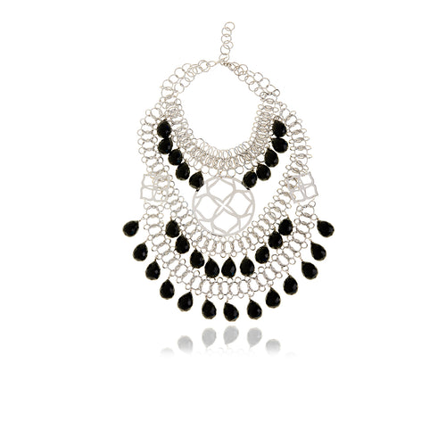 Runway Silver Onyx Signature Necklace - Georgina Jewelry