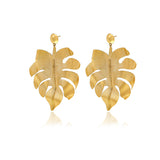 Gold Bold Leaf Earrings - Georgina Jewelry