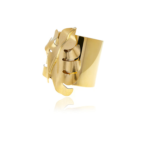 Gold Bold Leaf Bracelet - Georgina Jewelry